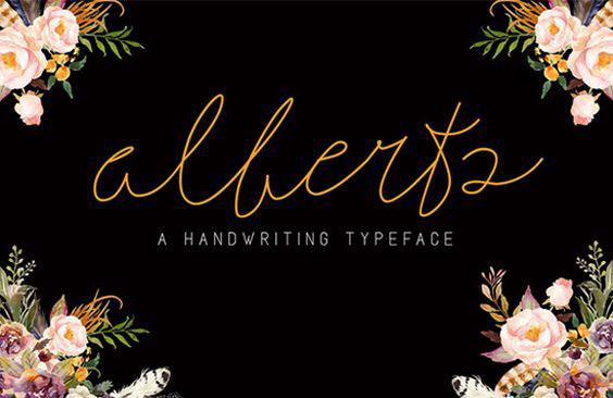alberts手写纤细网红签名艺术字体免费下载