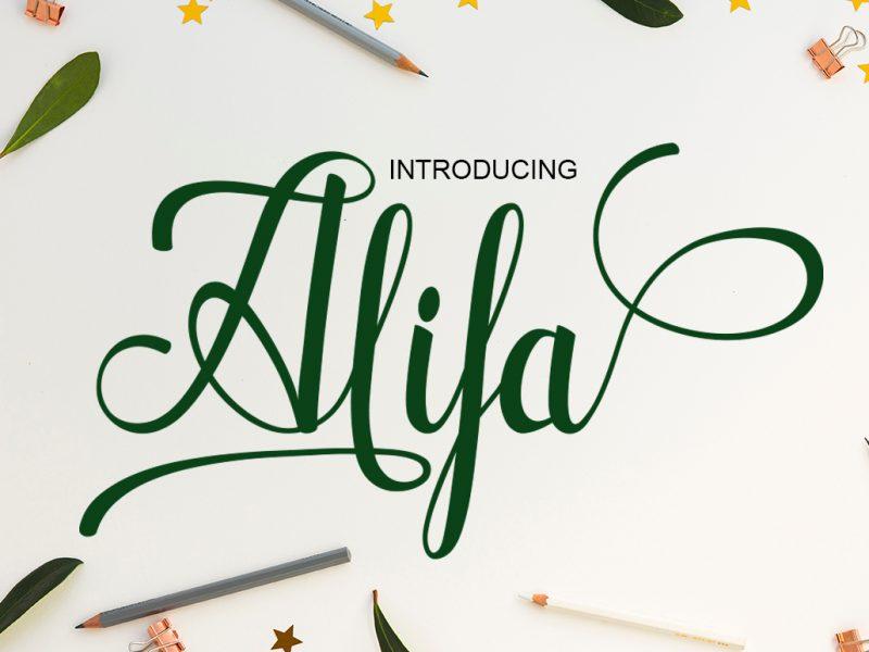 alifaa花体连笔好看的英文字体免费下载