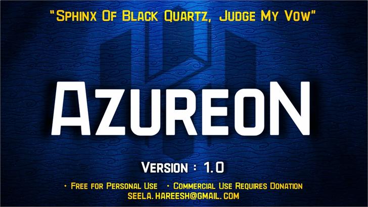 azureon现代无衬线英文字体免费下载